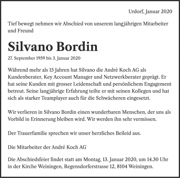 Obituary Silvano Bordin, Unterengstringen