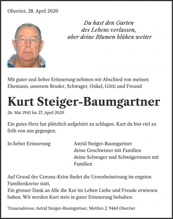 Obituary Kurt Steiger-Baumgartner, Oberriet