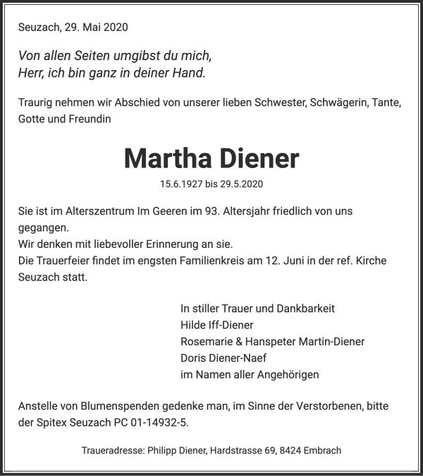 Obituary Martha Diener, Seuzach