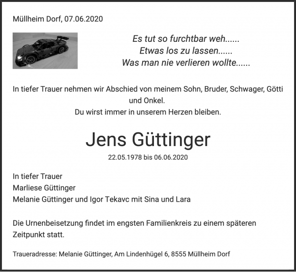 Obituary Jens Güttinger, Felben-Wellhausen