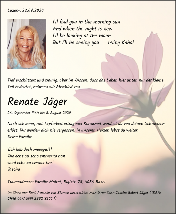 Obituary Renate Jäger, Luzern