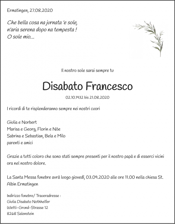 Obituary Disabato Francesco, Ermatingen
