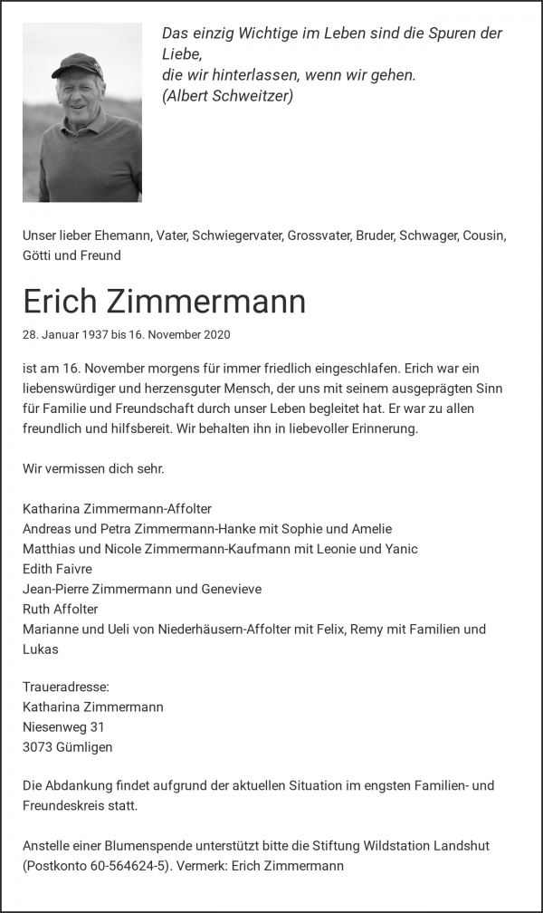 Obituary Erich Zimmermann, Gümligen