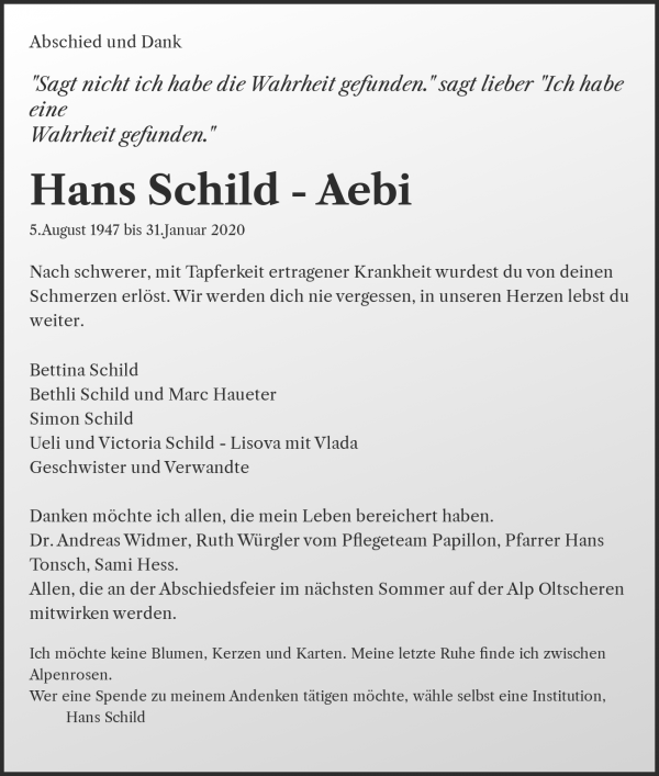 Obituary Hans Schild - Aebi, Brienzwiler