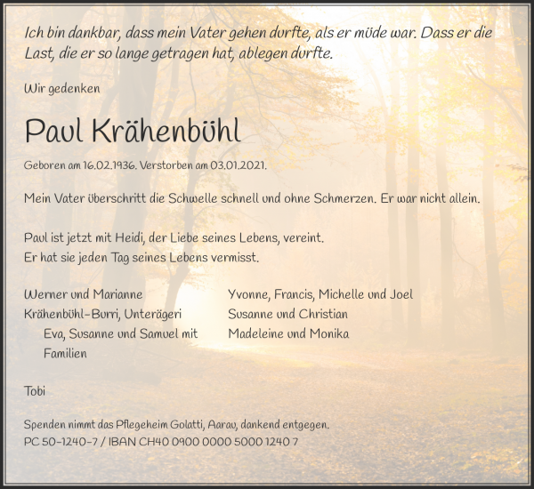 Obituary Paul Krähenbühl, Aarau