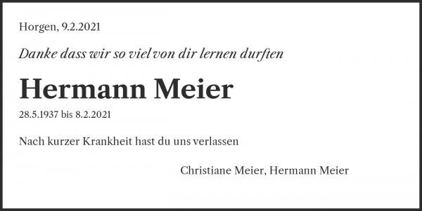 Obituary Hermann Meier, Horgen