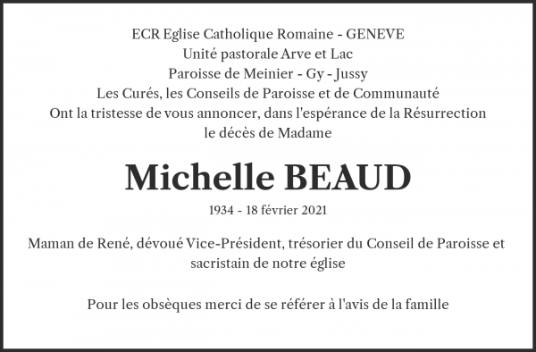 Obituary Michelle BEAUD, Morges